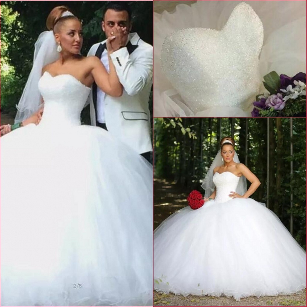 Red And White Wedding Dress.Hot Item Crystal Bridal Ball Gowns Red White Pink Tulle Puffy Real Wedding Dress Rr9009