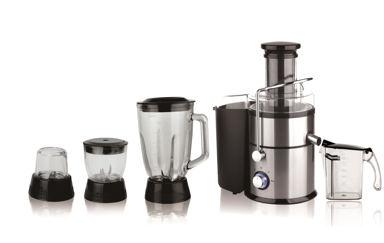 [Hot Item] Full Stainless Steel Glass Jar Juicer Blender Grinder Chopper 4  in 1