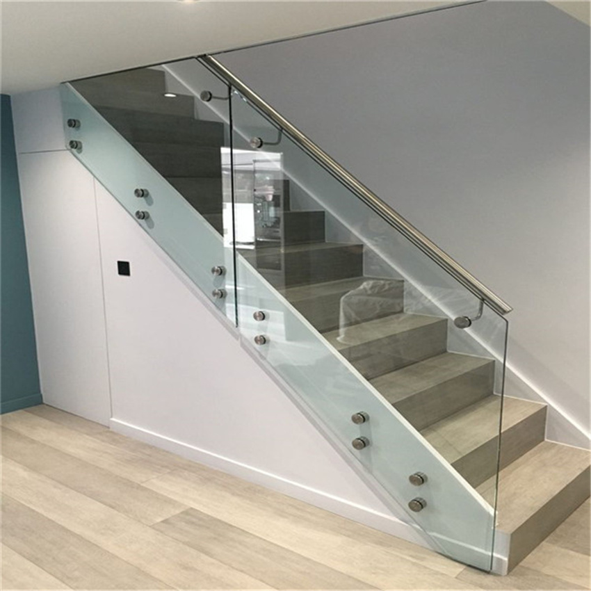 China Stainless Steel Glass Standoff Stair Balustrade Tempered Glass Balcony Railing Design China Glass Standoff Stair Railing