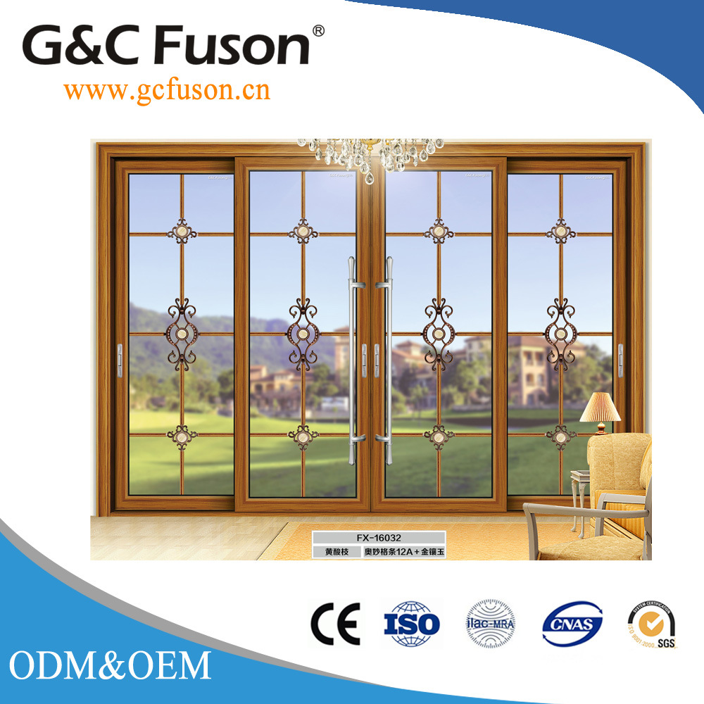 China German Aluminium Wood Grain Double Glazed Sliding Doors Photos