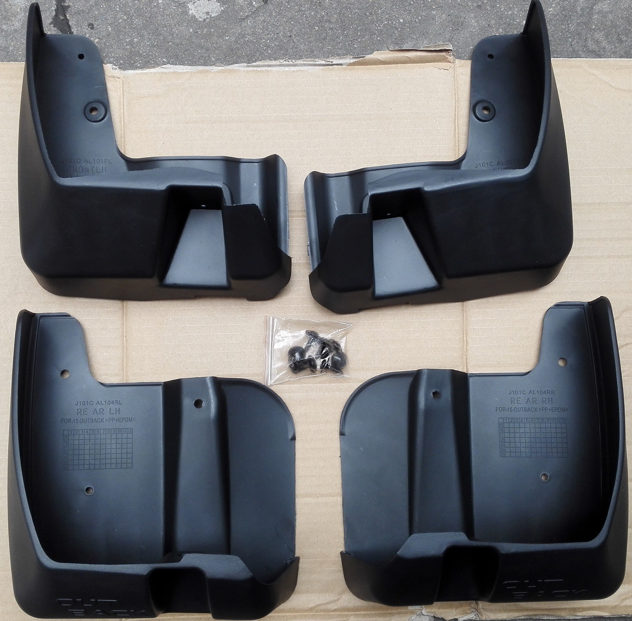 Auto Black Splash Guards Mud Flaps Front /& Rear For Subaru Outback 2015-2017