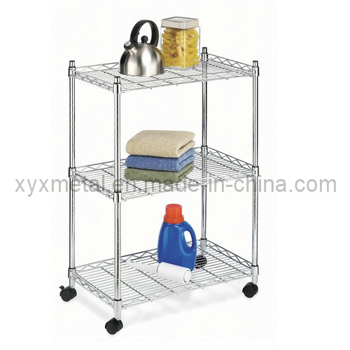 China 3 Tiers Metal Wire Stand Rolling Shelf Shelving Display Rack ...