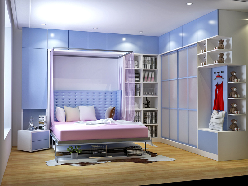 Transforming Wall Bed with Bookshelf and Study Desk