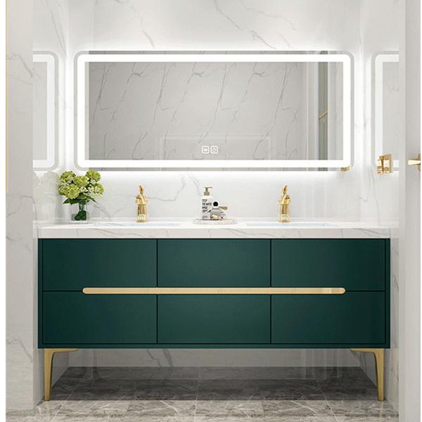 China Light Luxury Bathroom Cabinet, Green Bathroom Cabinet