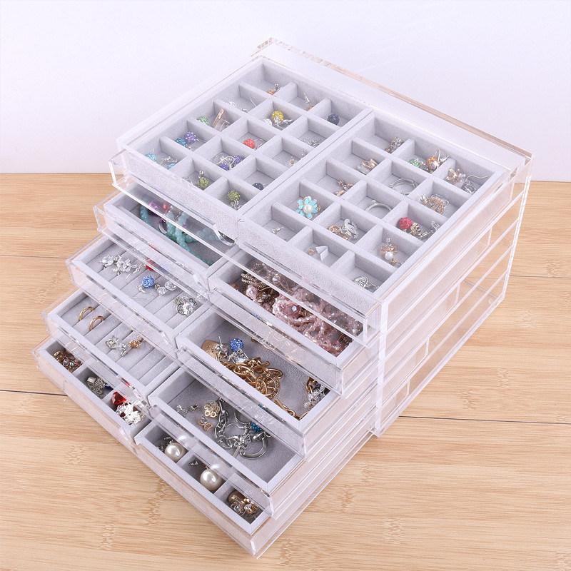 China Acrylic Jewelry Organizer With 5 Drawers And Velvet Jewelry Display Tray China Acrylic Jewelry Organizer And Acrylic Jewelry Drawer Box Price