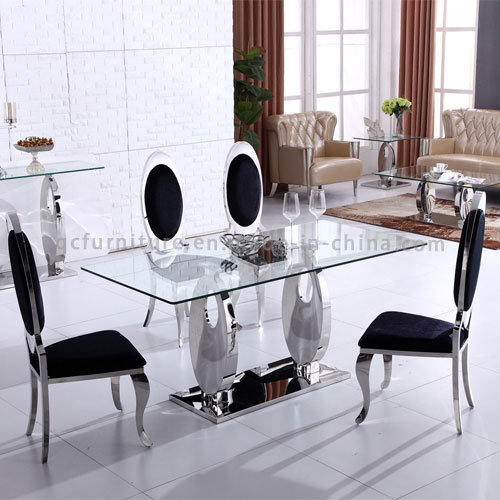 China Hot Sale Glass Top 6 Seater Dining Table Sets China Dining