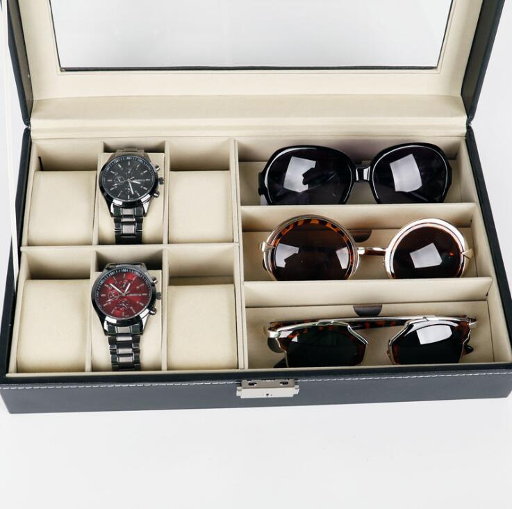 High Grade PU Leather 6 Slots For Watch Packaging And 3 Slots For Sun  Glasses Storage Box, Display Box For Watches And Sunglasses