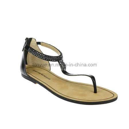 Lady Leather Leisure with Flat Sandals Flip Toe Women Sandals pictures & photos