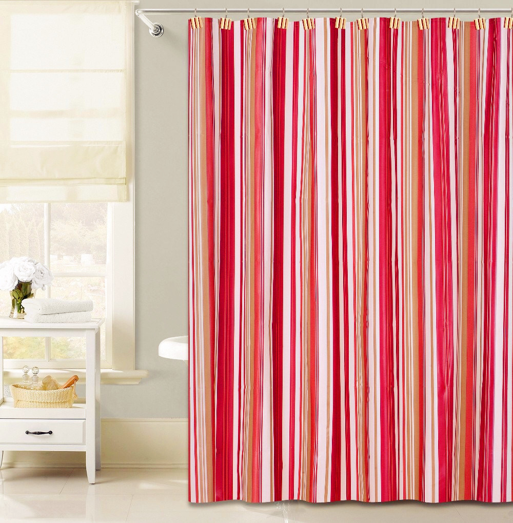 China Red Vertical Stripe Design PEVA Shower Curtain For Bathroom