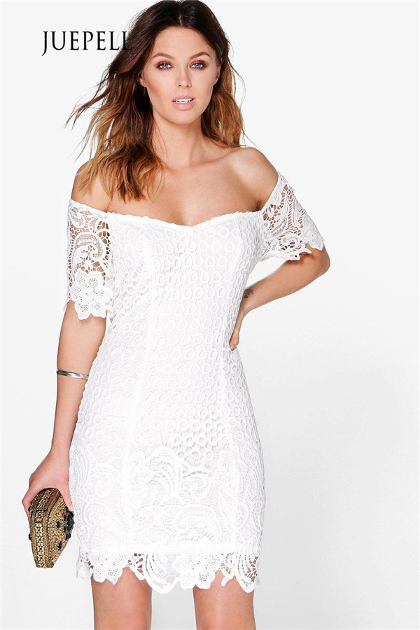 Crochet off Shoulder Lace Women Dress
