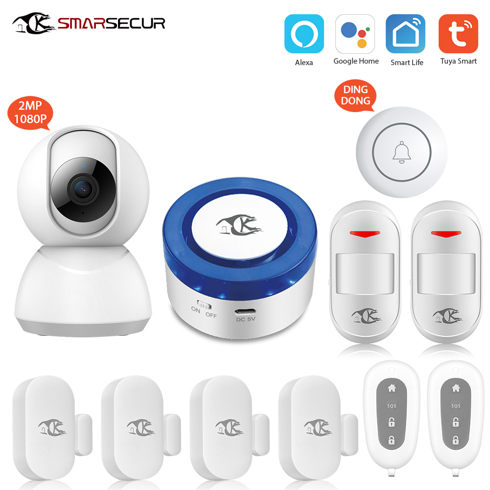 Smarsecur Wi-Fi Tuya Smart Life Alexa Google Home Smart Home Smart Life IP Camera Alarm Sensor Wireless WiFi Security System pictures & photos