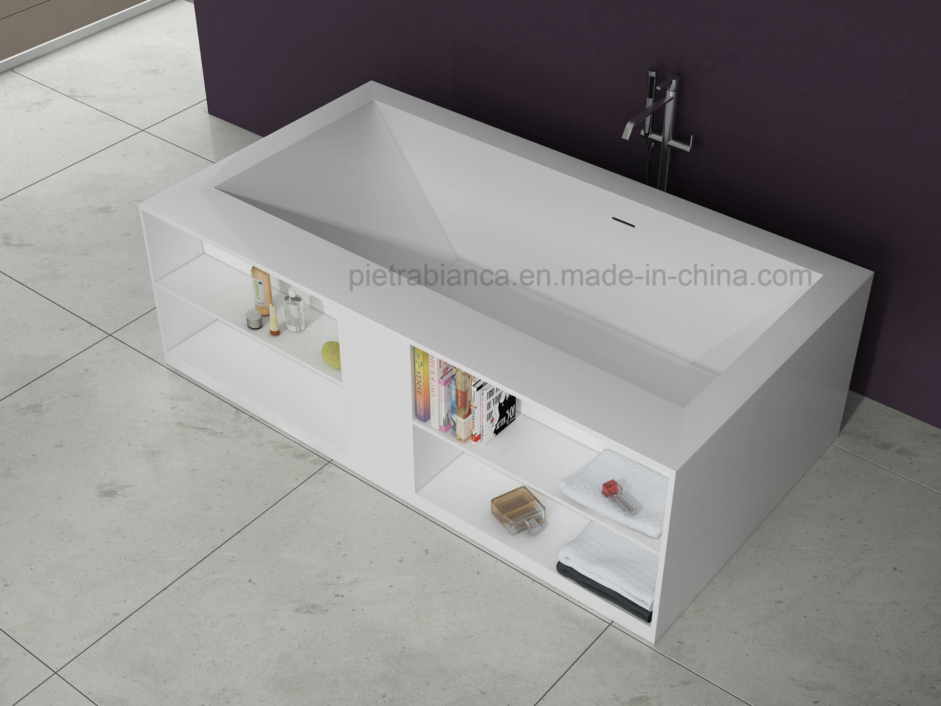 China 2017 New Style Customized Solid Surface Bathtub With Cabinet