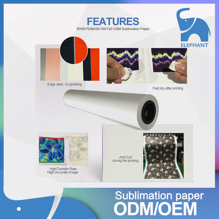 Low Price 80GSM 90GSM 100GSM Non-Sticky Sublimation Paper Roll pictures & photos
