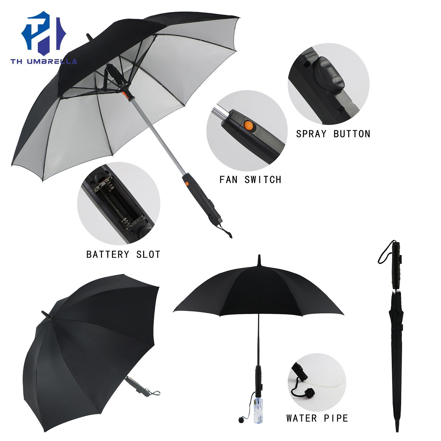 High Quality Automatic Windproof Big Golf Umbrella with Fan