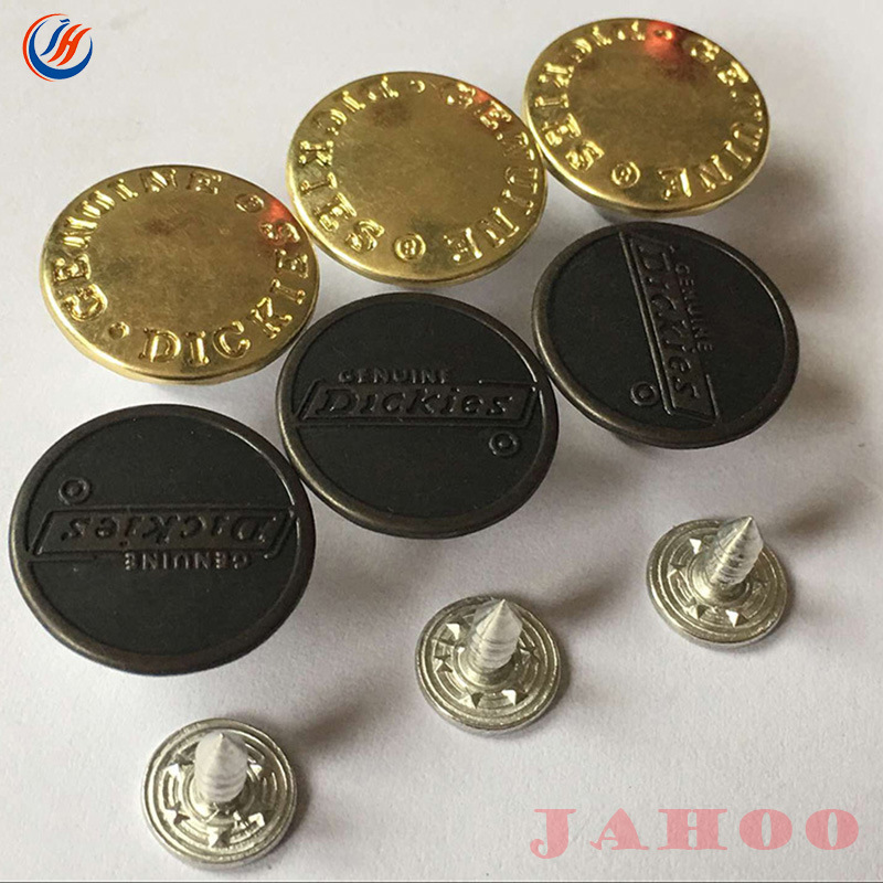 [Hot Item] Custom Logo Jeans Fancy Buttons Remove Denim Metal Jeans Brush  Shank Buttons for Clothing