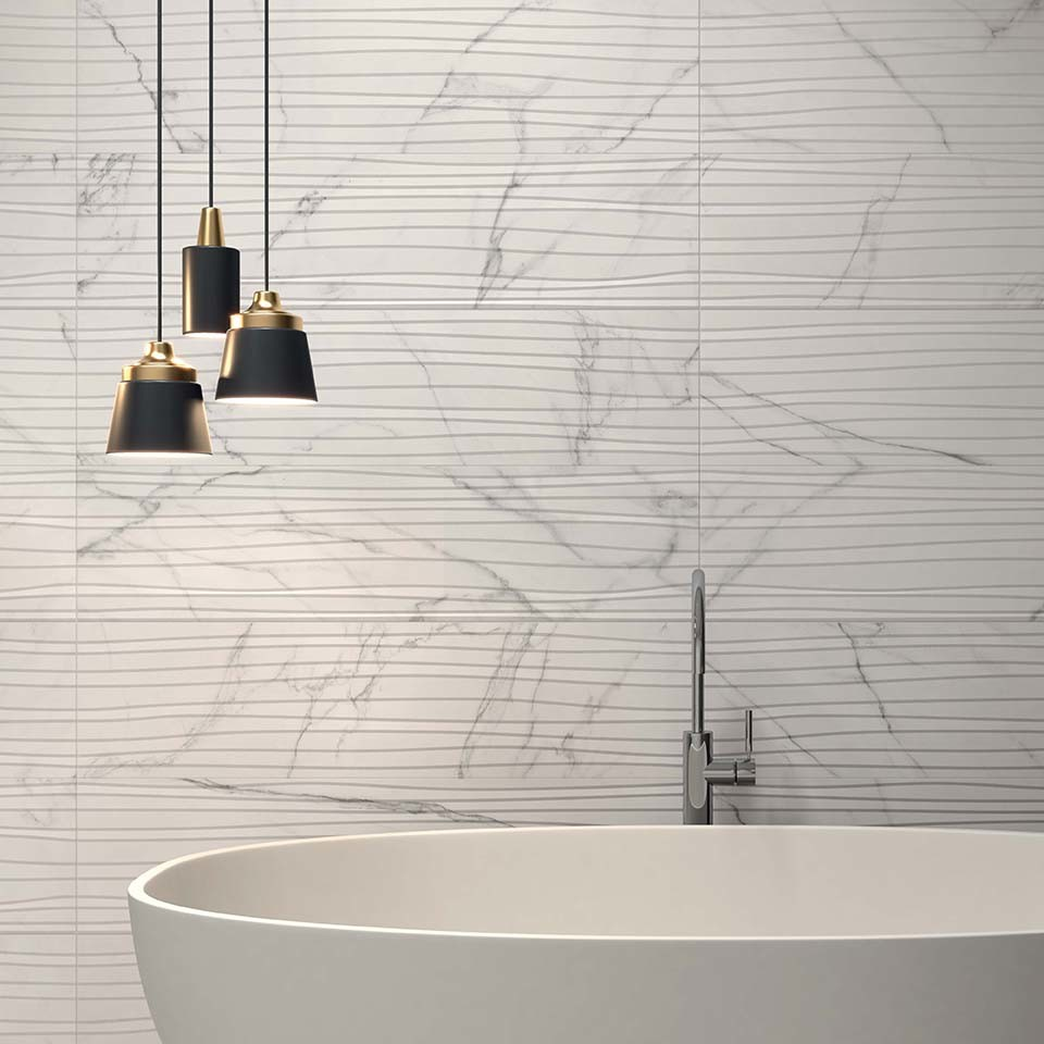 China Carrara White Saw-Pulled Surface Marble Porcelain Floor Wall ...