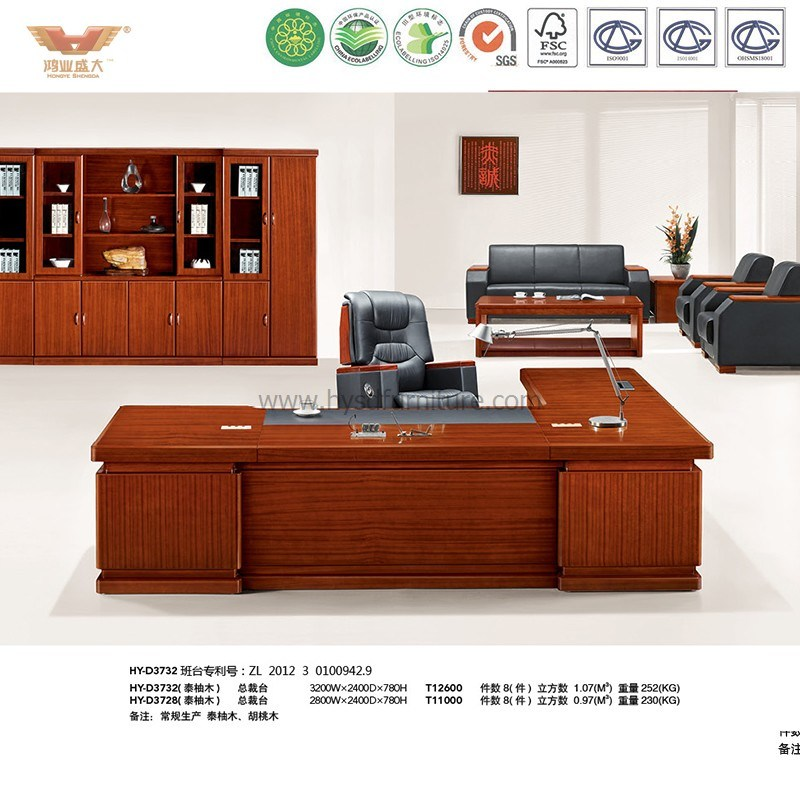 Office Furniture Teak Veneer Wooden Table Executive Desk