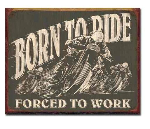 "New Vintage Amercian ""Born to Ride"" Metal Wall Plaque Tin Sign Wall Decor"
