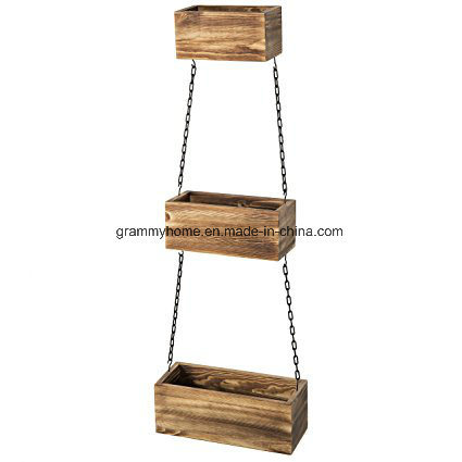 Rustic Wood Wall Hanging Planter Bo With Black Metal Iron Chains