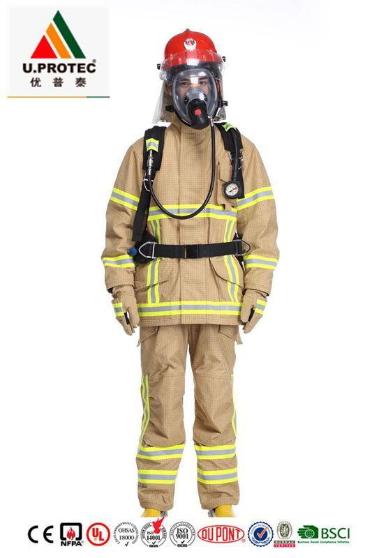 China En469 Gold Pbi Firefighting Suit Firefighter Uniform