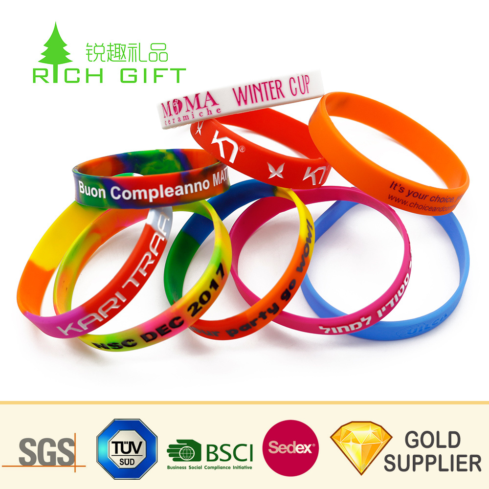 Hot Item Factory Direct Custom Dye Sublimation Imprinted Funny Silicone Rubber Wristband Bracelets