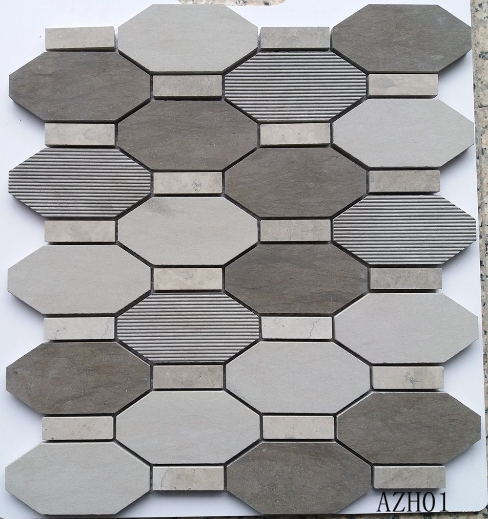 China High Quality Kitchen Wall Tiles Gray Color Different Surface Marble Mosaic China Floor Tiles Bathroom Tiles
