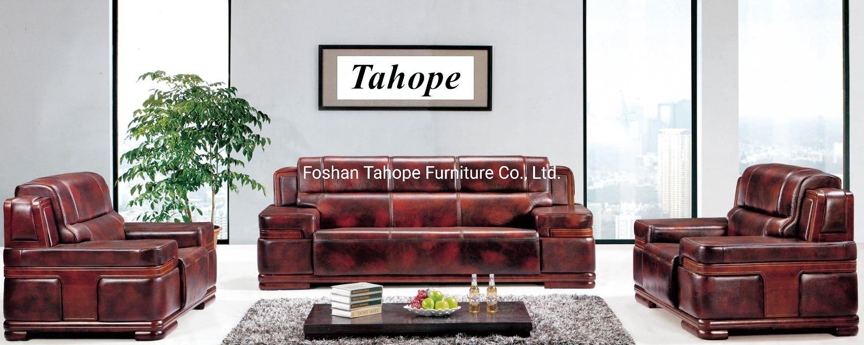 Wooden Sofa With Pu Leather