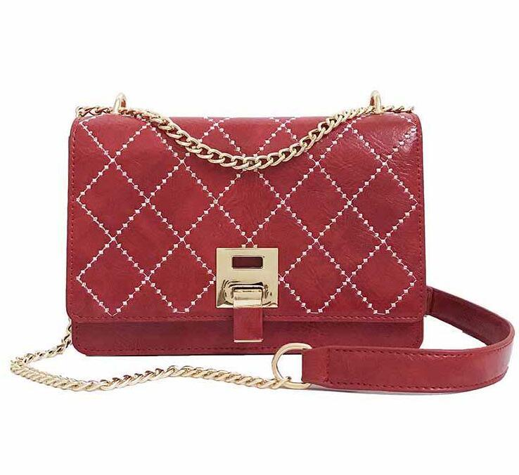 Women′s Fashion PU Shoulder Bag Red Quiltied Chain Crossbody Bag pictures & photos