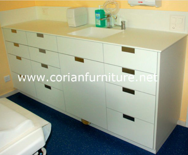 China Clear Corian Solid Surface Hospital Doctor Office Cabinets Cabinet