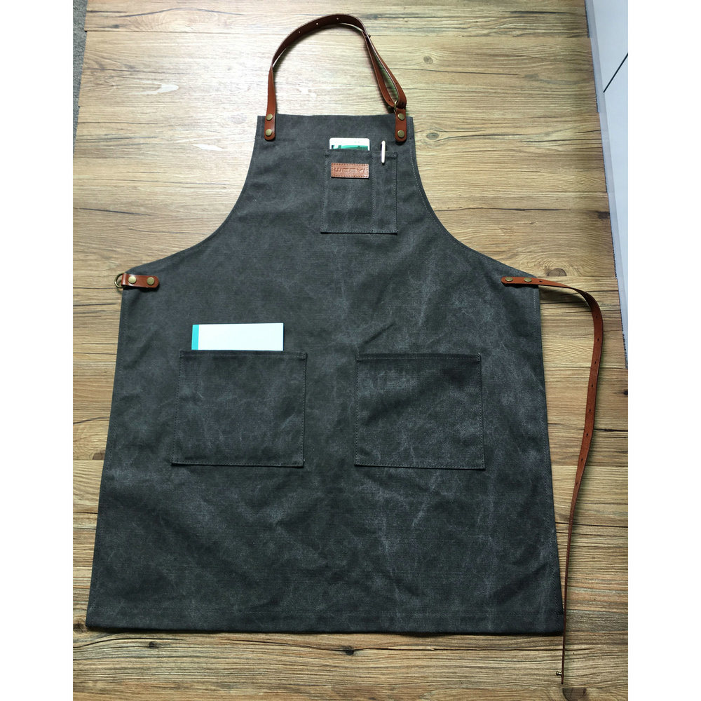 China High Quality Durable Grey Canvas Work Aprons with Genuine ...