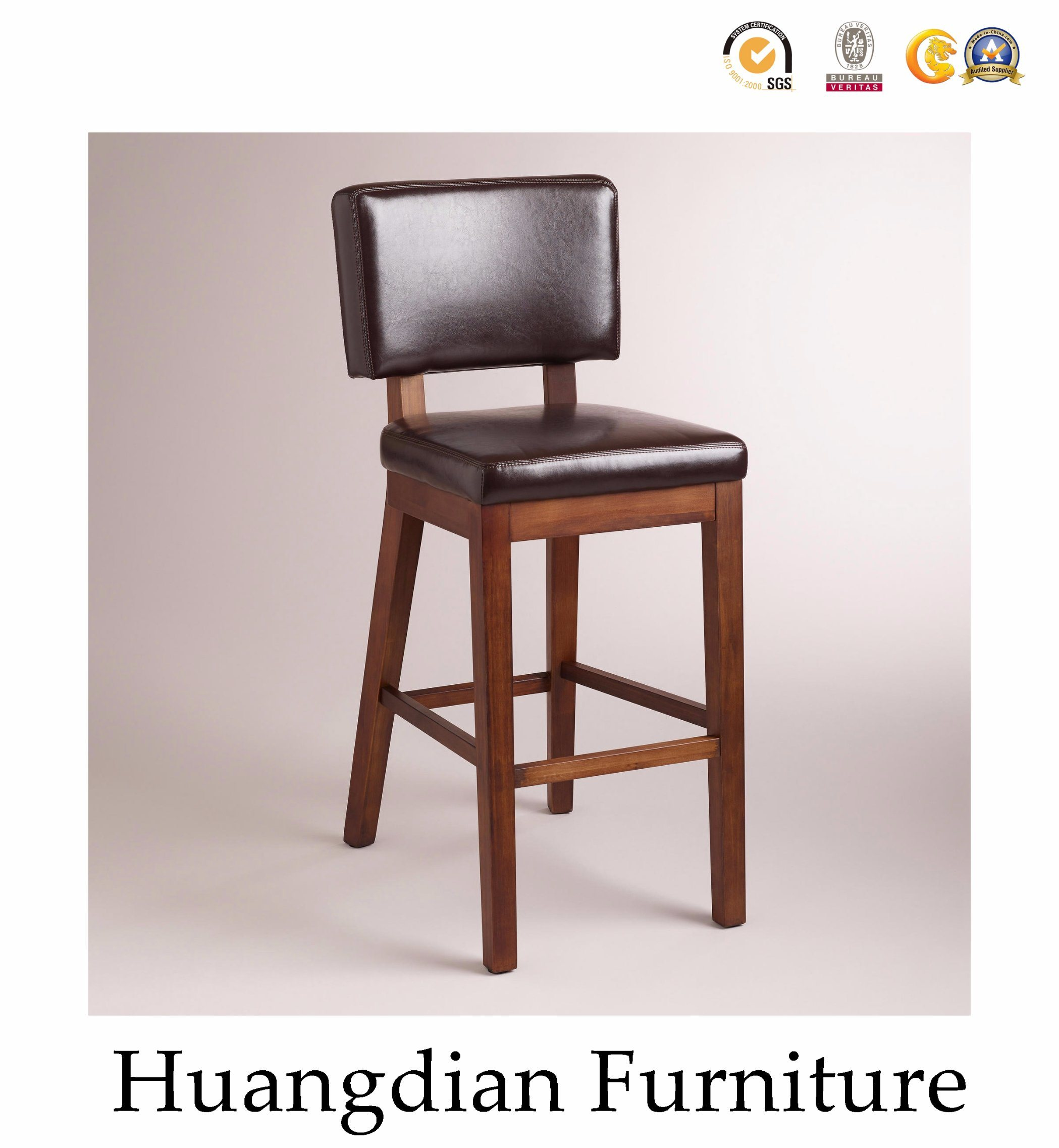 Modern Leather Wood Bar Stool Chairs