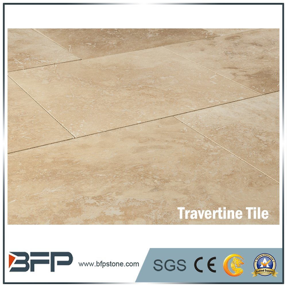 China Beige Travertine Marble Tile For Interior Flooring Stone Natural