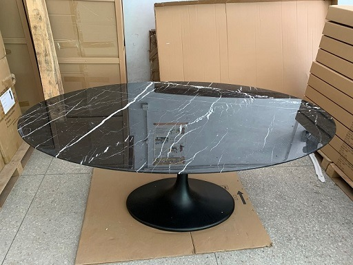 China Eero Saarinen Oval 78 Black Marble Top Tulip Dining Table Replica For Sale China Tulip Dining Table Saarinen Dining Table
