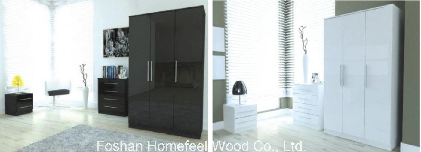 China 3 Pieces High Gloss Bedroom Door Wardrobe Closet Sets Furniture Set