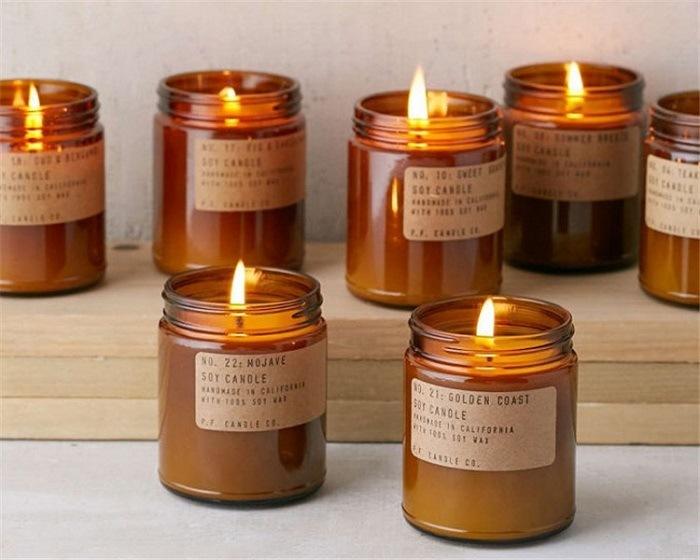 China Soy Glass Amber Candle Jars Black Lids Wholesale ...