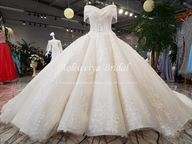 China Aoliweiya Ball Gown Crystal White/Champagne Wedding Dresses ...