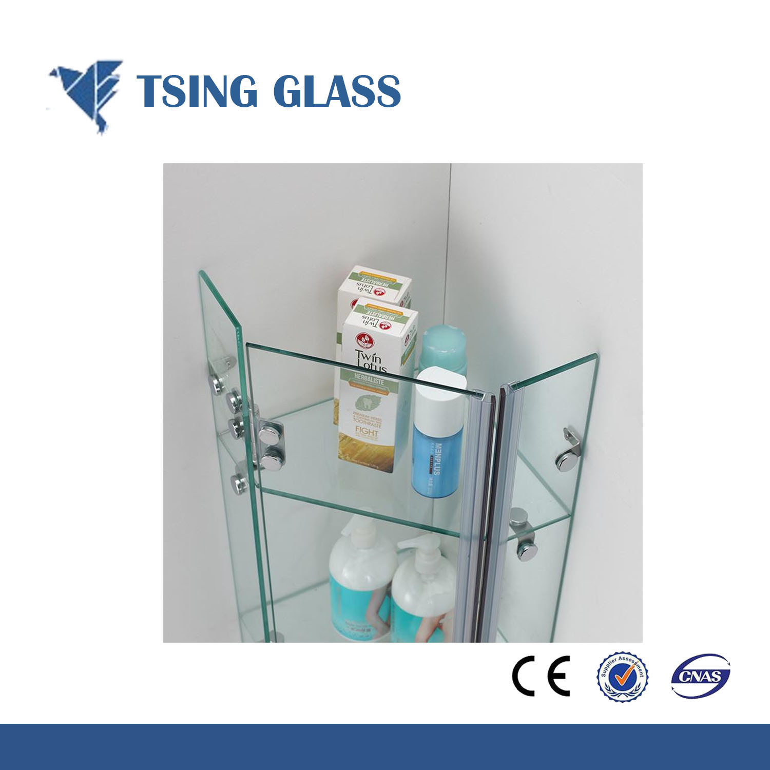 China Tempered Toughened Shower Corner Shelf Glass for Bathroom ...