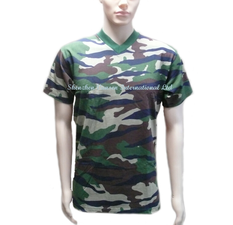 Unisex Plain V Neck Camo T-Shirt Made in China