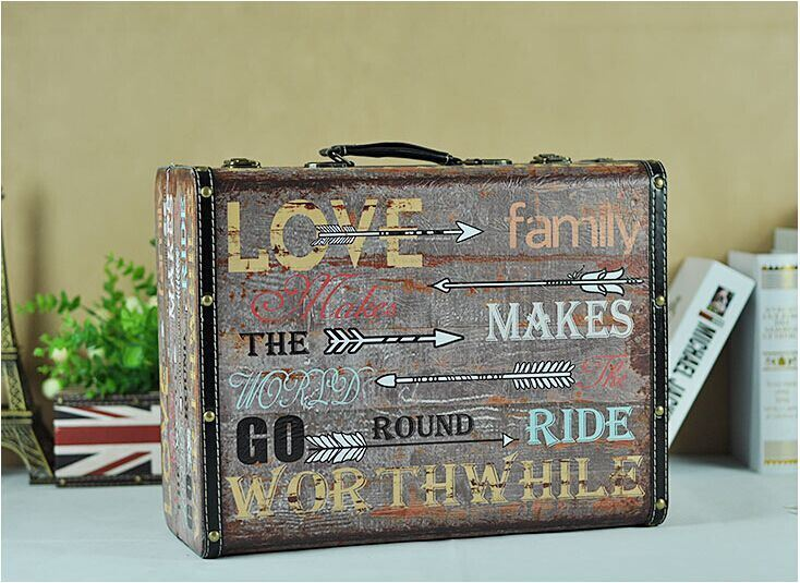 American Village Style Retro Portable Wooden Antique Trunk