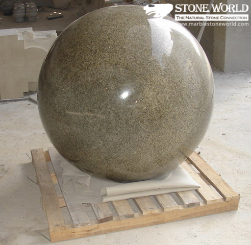 China Red Balmoral Polished Granite Ball Carving For Garden Inspiration Stone Ball Garden Decoration