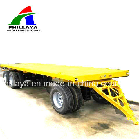 New 4 Axles Truck Full Flatbed Drawbar Trailer for Sale pictures & photos