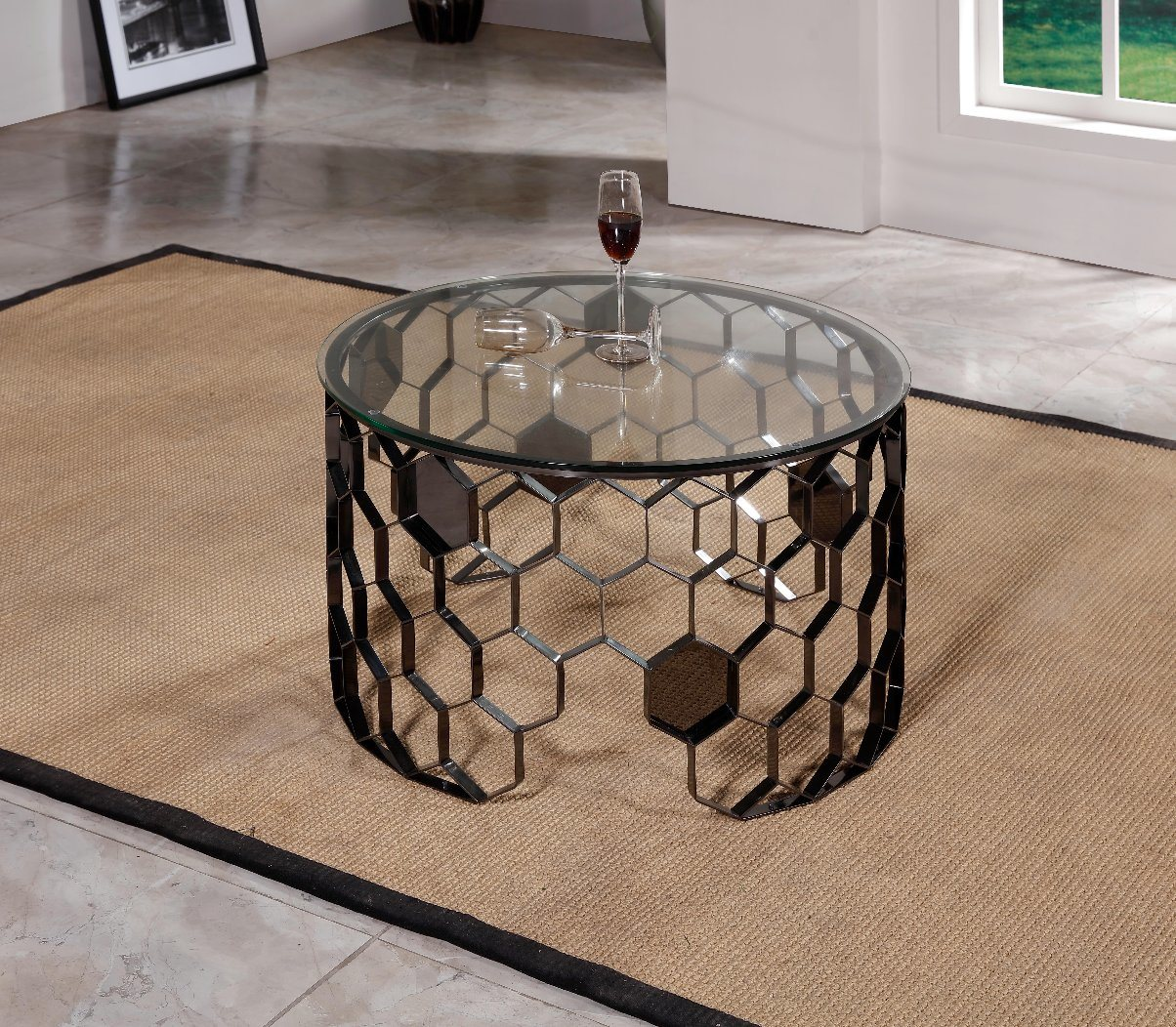 - China Side Table Glass Round Coffee Table Stainless Steel Modern