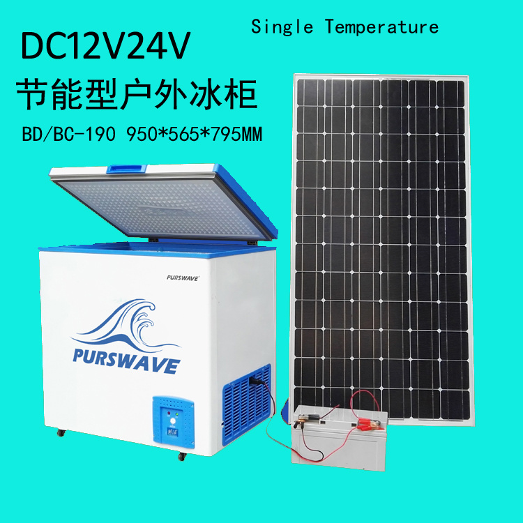 [Hot Item] Purswave Vdfr-190 190L DC 12V/24V/48V Solar Chest Freezer -25  Degree Battery Powered Refrigerator Movable Ice-Cream Freezer