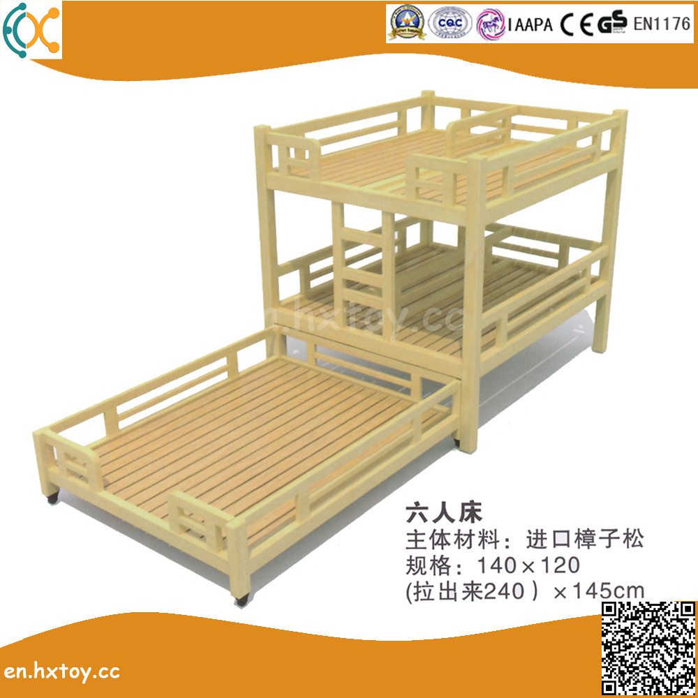China Kindergarten Solid Wood Furniture Kids Wooden Double Bed