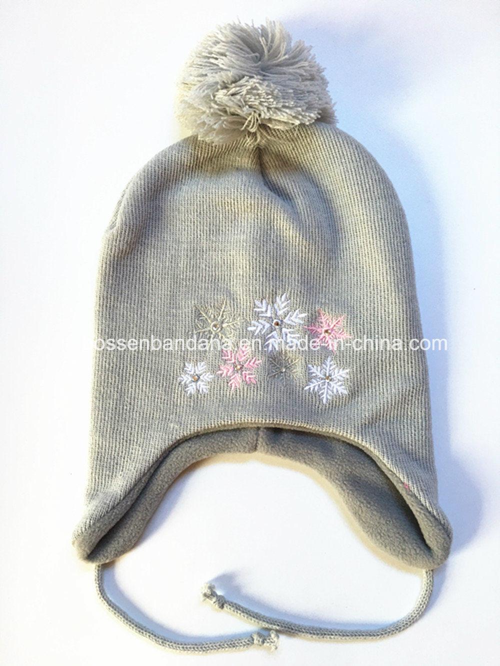 becf38c0 Factory OEM Produce Custom Embroidery Grey Kids Earflap Polar Fleece Knitted  Beanie Hat