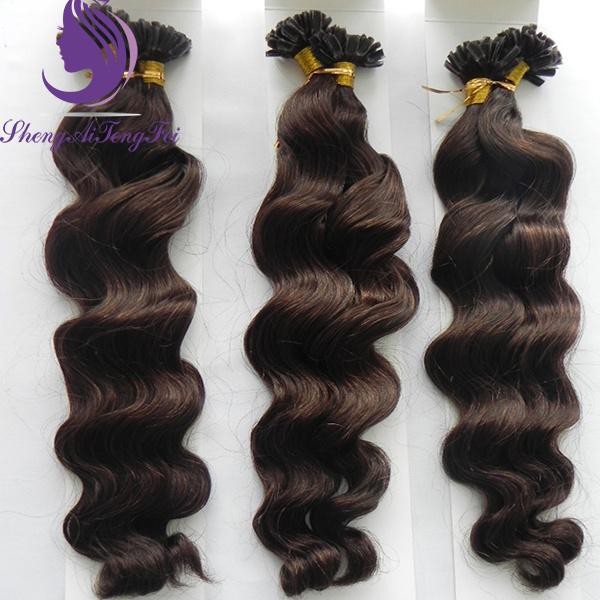 China Brown 4 Loose Wavy Brazilian Remy Nail U Tip Hair Extension