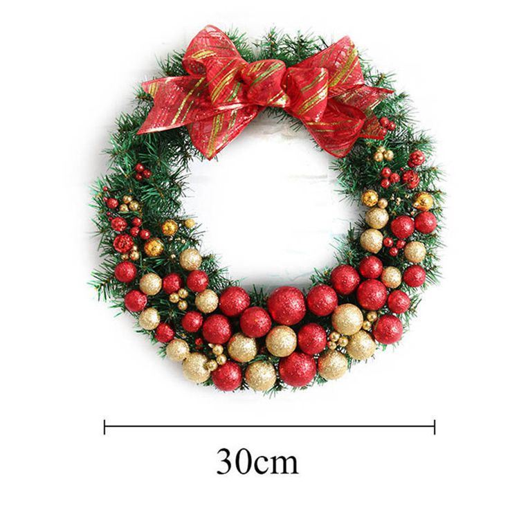 Christmas Ball Garlands.Hot Item High Grade Creative Christmas Garlands With Pine Cones Red Fruits Christmas Balls Bow Door Hanging Rattan Ring Decorations