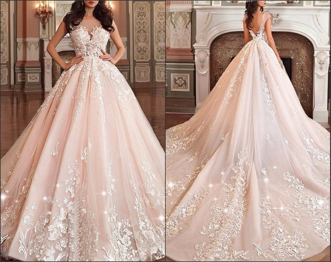 Blush Ball Gown Wedding Dress: China Blush Bridal Prom Ball Gown Pink Champagne Wedding