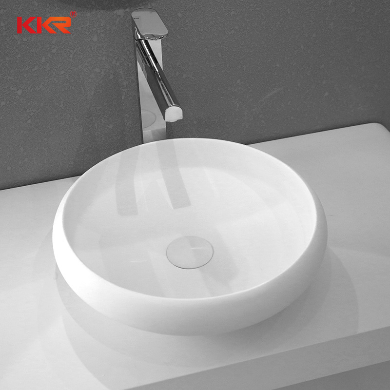Europe Small Artificial Stone Table Top Round Hand Wash Basin Sink