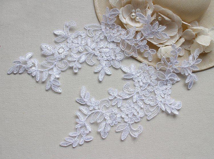 Pieces off white bridal wedding d floral lace applique floral